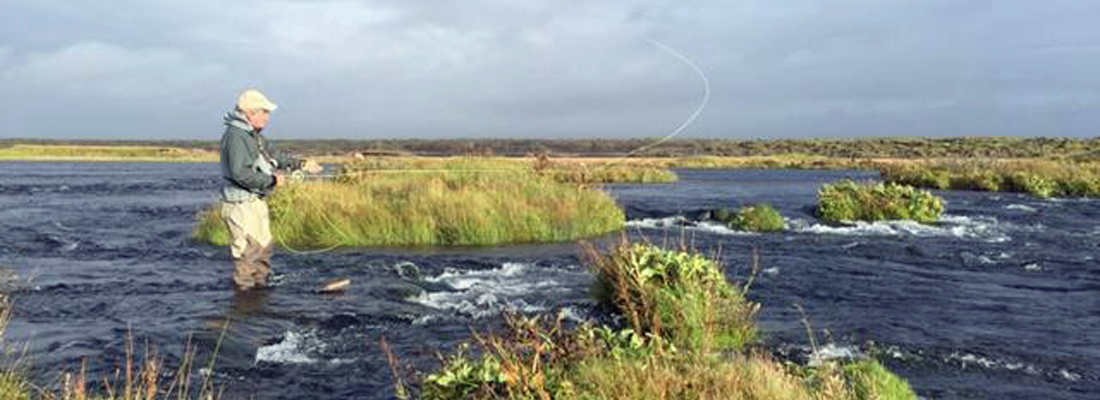 Fly casting in Iceland for Atlantic Salmon