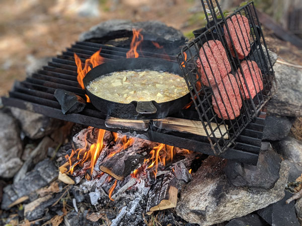 Campfire and Lunch on a Maine Fishing Trip at Weatherby's