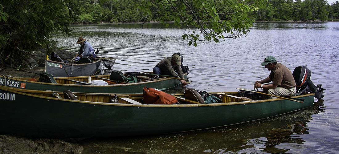 Maine fishing guides in canoes, Grand Lake Stream Maine