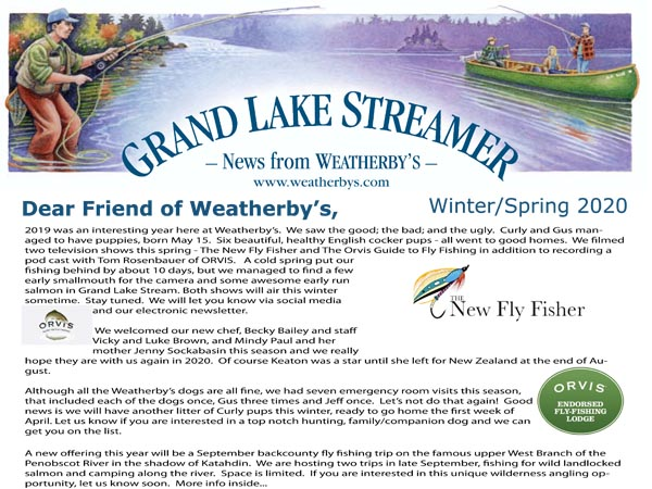 Winter 2020 Newsletter from Weatherby's in Grand lake Stream, Maine